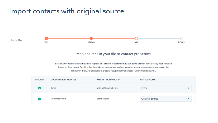 Import contacts original source HubSpot image